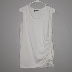 Athleta White Ruched Tie Side Muscle Tanktop